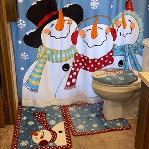 5 Piece Shower Curtain 2 Rugs Toilet Cover Snowman